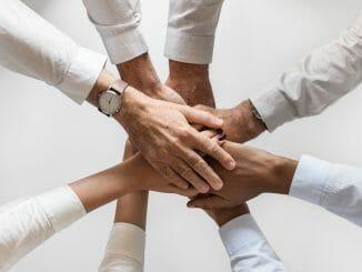 Hände eines Teams